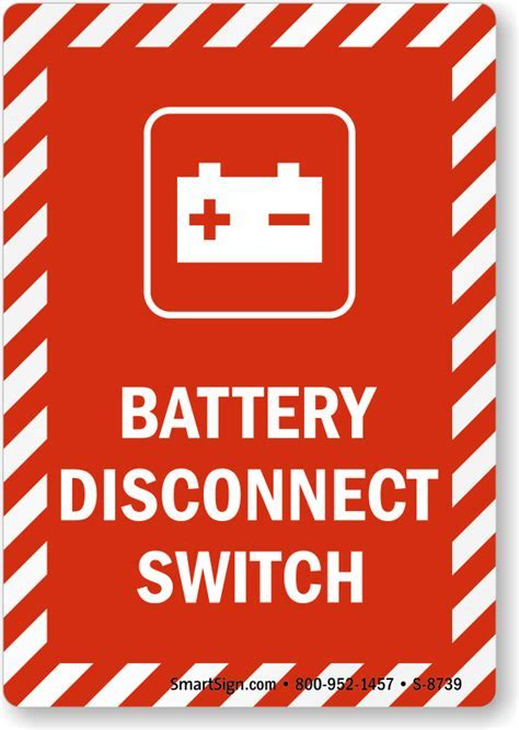 Battery Disconnect Switch Sign with Graphic, SKU: S 8739