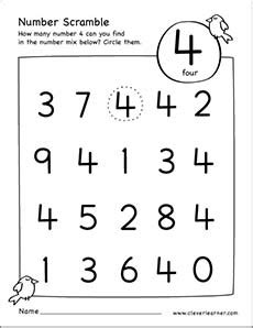 number scramble activity worksheet for number 4 for
