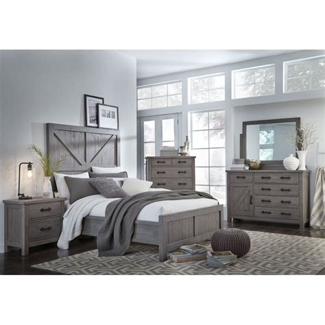 gray rustic contemporary  piece king bedroom set austin