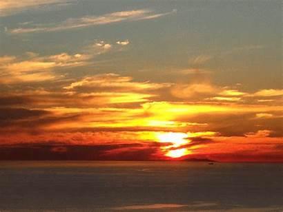 Sunset Below Sun Horizon Coastal Ocean Flash