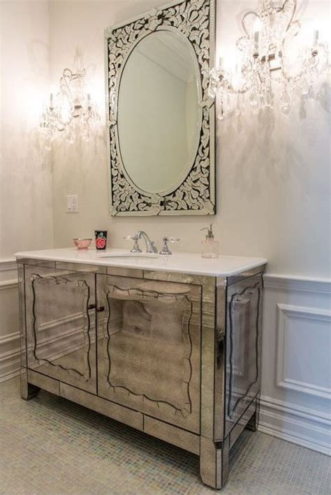 art deco powder room  venetian mirror zillow digs