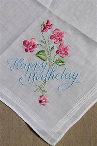 vintage embroidered hankies, Happy Birthday & Thank You