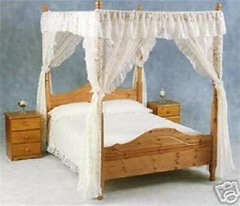 Four Poster Drapes - net curtain lace four poster bed drapes and valance ebay