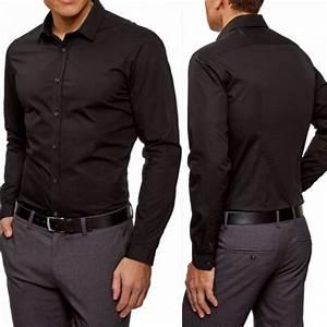 Chemise Homme Slim Fit : achat chemise homme noire unie slim fit ~ Nature-et-papiers.com Idées de Décoration