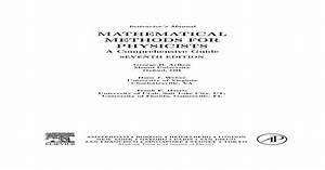 Mathematical Methods For Physicists  A Comprehensive Guide