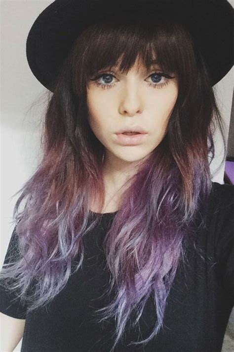Wavy Brown And Purple Ombré With Bangs Hairspiration