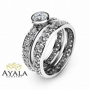 Unique vintage engagement rings natural diamond bezel for Unique vintage wedding rings