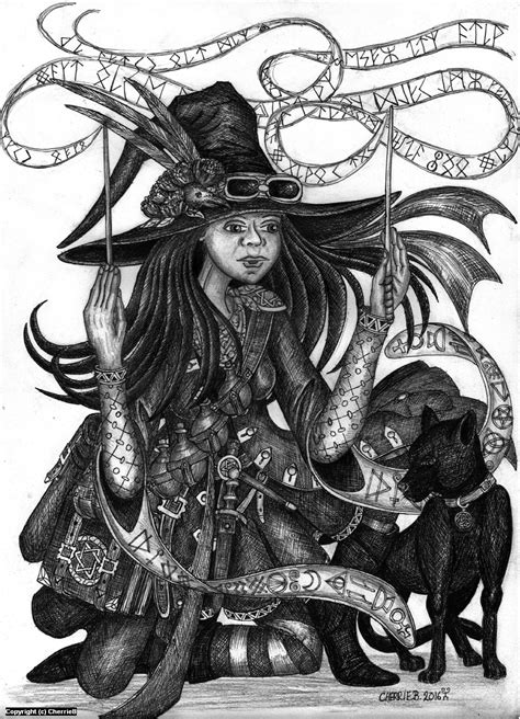 Infected By Art » Art Gallery » Cherrie Button » The Spellcaster in Greyscale Artwork