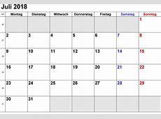 Kalender Juli 2018 zum Ausdrucken [PDF, Excel, Word