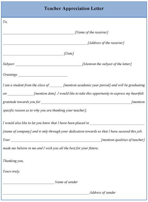 appreciation letter templates letter template for teacher appreciation format of