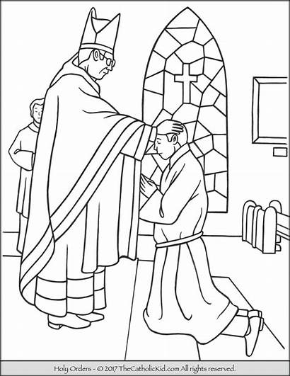 Catholic Coloring Holy Orders Sacrament Pages Priest