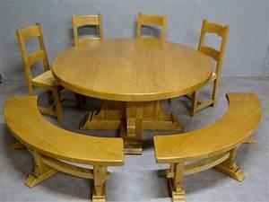 Table Ronde Bois Massif : tables de ferme et ronde meubles rustiques en bois massif ~ Teatrodelosmanantiales.com Idées de Décoration