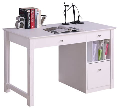 all wood desk with hutch walker edison deluxe solid wood desk in white modern