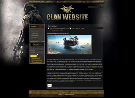 gaming website template gaming clan joomla template