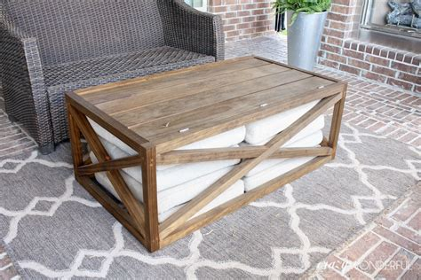 We have lift top coffee tables, for some extra storage, square coffee tables, modern coffee tables, and glass if you're working with a small space, we have small coffee tables, and small round coffee tables. DIY outdoor coffee table   with storage - Crazy Wonderful