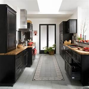 Meuble Cuisine Lapeyre : cuisine bistro noir en bouleau massif lapeyre noir ~ Farleysfitness.com Idées de Décoration