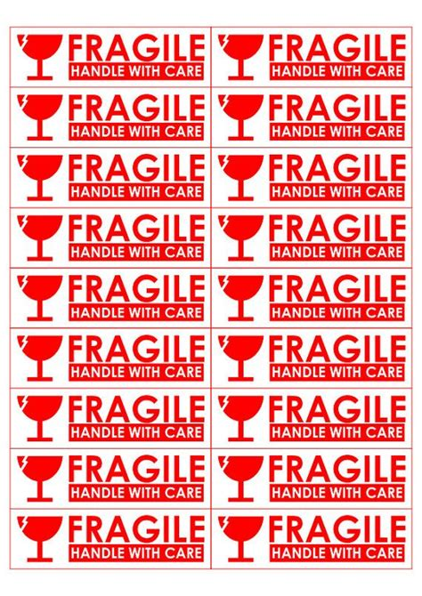 printable sticker  sized  sticker  fragile handle
