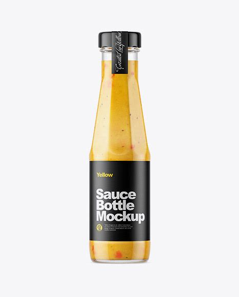 The cap is available in glossy and metallic finishes. Sauce Bottle Mockup on Behance