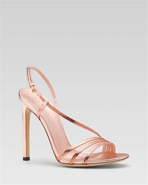 betsey johnson shoes lyst gucci othilia evening high heel sandal in metallic
