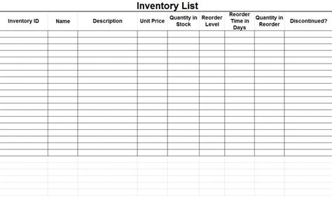 inventory template inventory templates excel