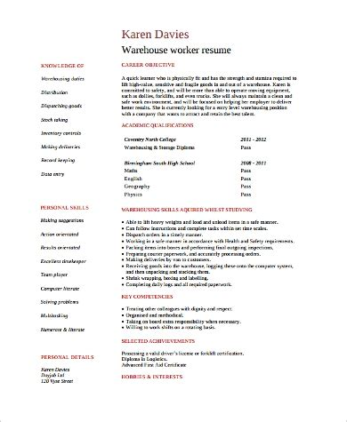 Warehouse Resume Template by Sle Warehouse Worker Resume 9 Exles In Word Pdf