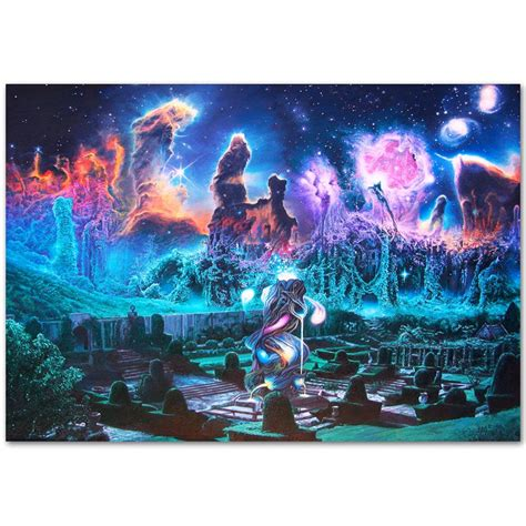 a679 psychedelic trippy visual abstract visual city top a4 silk poster light canvas painting