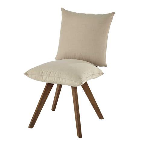 tissu chaise chaise en tissu déperlant et bois écrue nola maisons du