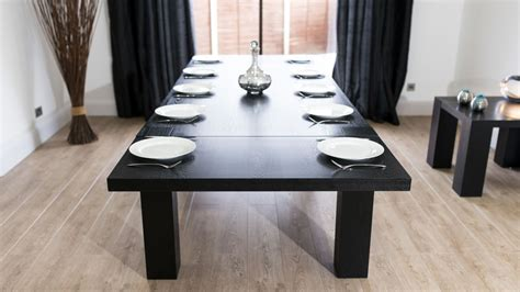Black Dining Table by Modern Large Extending Black Ash Dining Table Chunky