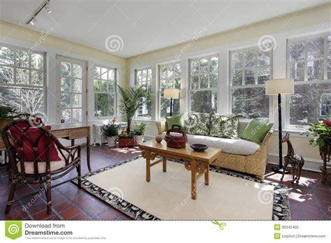 three season room decorating ideas sunroom with brick flooring stock image image 35342405