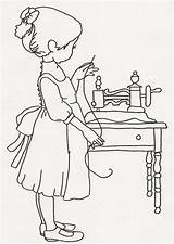 Sewing Coloring Pages Sew Machines Princess sketch template