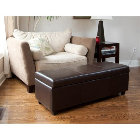 Living Room With Ottoman by Avalon Large Rectangular Storage Ottoman Brown
