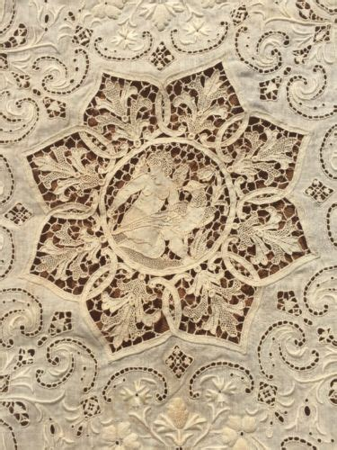 lace table antique needle lace figural table cloth embroidered