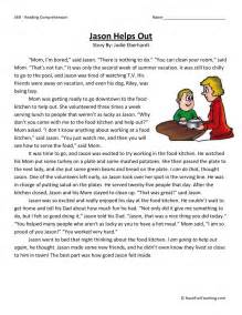 free third grade reading comprehension reading comprehension worksheet jason helps out