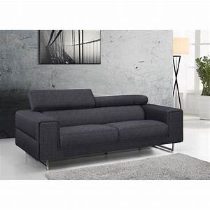 canape droit design 3 places mario en tissu gris fonce With tapis de couloir avec canapé tissu convertible