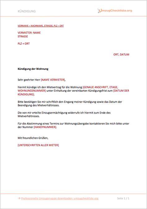 Vermieter Mietvertrag Kündigen by K 252 Ndigung Mietvertrag Durch Vermieter Vorlage Kostenlos