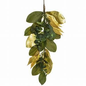 Artificial, 33, U2033, Magnolia, Leaf, Eucalyptus, Pine, Door, Swag, Green, Gold