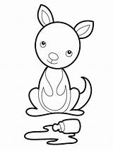 Kangaroo Coloring Printable Kangaroos Craft Sheets Animal Easy Animals Flag Disney Pouch sketch template