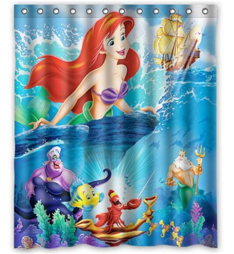 custom home decor little mermaid blue fabric moden shower