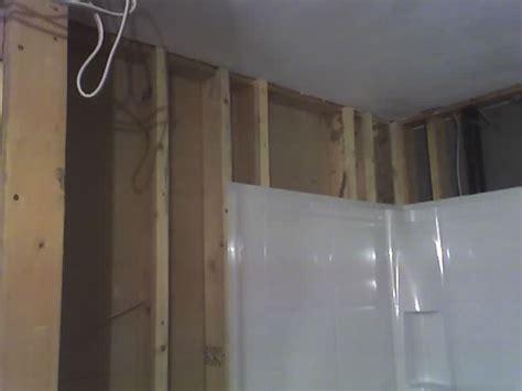 drywall newly framed bathroom wall  square  bad