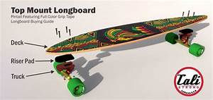 Top Mount Longboard Pintail With Full Color Grip Tape