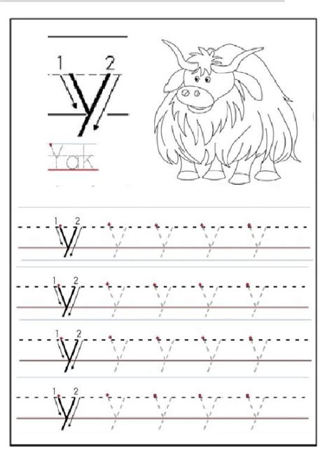 Lowercase Letter Y Tracing Worksheet For 1st Grade  Preschool Crafts