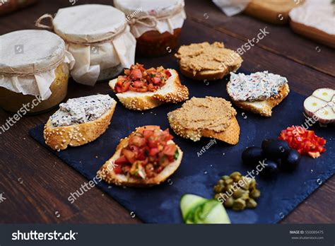 canape toppings top view set appetizer canapes baguette stock photo