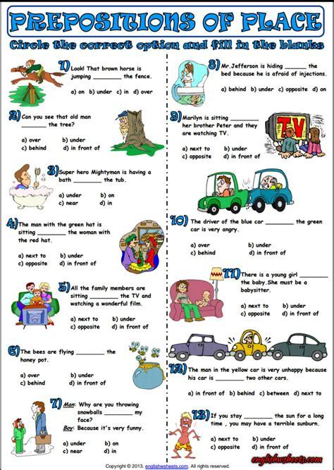 Prepositions Of Place Multiple Choice Exercise Worksheet  Esl Printable Grammar Worksheet And