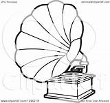 Phonograph Gramophone Clipart Vector Player Illustration Record Royalty Coloring Lal Template Perera Pages Sketch Clip sketch template