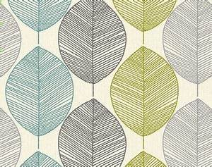 QuotArthouse Opera Retro Leafquot Teal Lime Green Grey