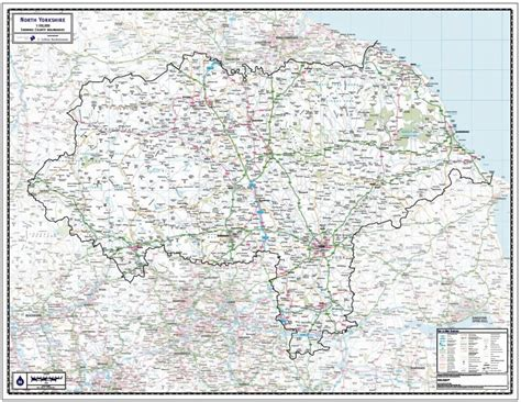 north yorkshire county wall map paper laminated
