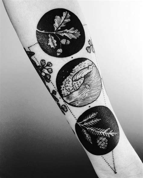 Negative space Tattoo Motive die naturmächte in einem