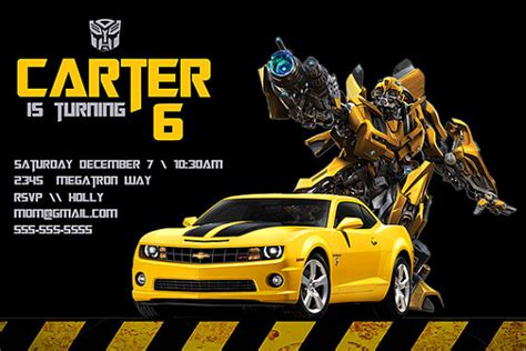 transformers party invitations template free printable transformers bumble bee birthday party