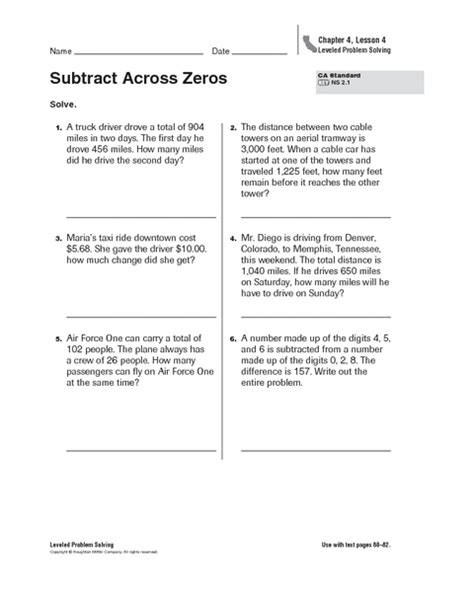 subtracting with zeros worksheet 1000 ideas about