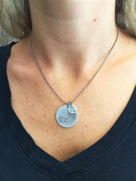scorpio zodiac hand stamped constellation necklace